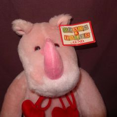 "Rhino Pink Valentines Day Plush Stuffed Animal  17"" Holiday Gund Hearts Toy  #GUND"
