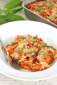 One-pan Pasta and Chicken Casserole with Parmesan Streusel