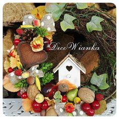 Wianek dekoracyjny,jesień,wianek jesienny,dekoracje,dekoracja,rękodzieło,hand made,home,dom,wnętrze,wystrój wnętrz,dekoracja,dekoracje,