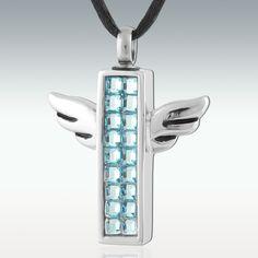 Aquamarine Winged Pillar Stainless Steel Cremation Jewelry