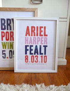 Framed birth date posters - love this idea!