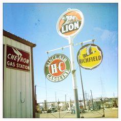 Road Trip: Vintage Chevron, Sinclair, Richfield & Lion Gas Signs by Lynn Friedman, via Flickr