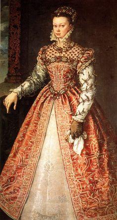 Alonso Sánchez Coello — Portrait of Elisabeth of Valois, Queen of Spain, 1560 : The Kunsthistorisches Museum, Vienna. Renaissance Mode, Costume Renaissance, Elizabethan Costume, Elizabethan Fashion, Elizabethan Era, Renaissance Portraits, Renaissance Clothing, Renaissance Fashion, Italian Renaissance