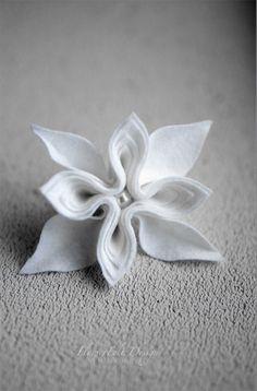 white winter felt brooch tangerine brooch wedding by MargoHupert