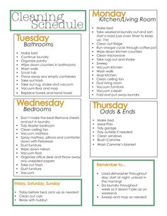 Weekly Cleaning Schedule! Includes a reminder to get to the dog too!