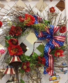"""""""Proud to be an American"""" One of our one-of-a-kind #wreaths and #arrangements created by our in-house designer at The Gift Shop at Hinkle's!!  #gift #gifts #giftideas"""