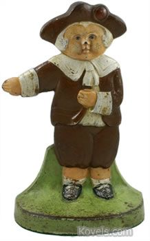 This pilgrim doorstop was made in the 1920s by the Judd Mfg. Co. of New Britain, Connecticut, a foundry that was also known for its figural banks and bookends. It's cast iron, 9 inches high, and sells for $350.