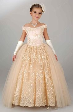 Off the Shoulder Champagne Ball Gown Flower Girl