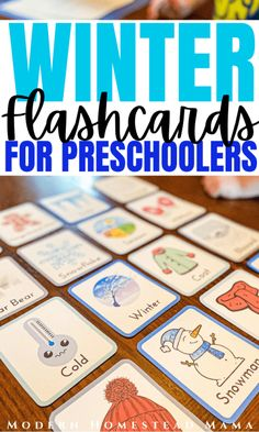 Winter Flashcards for Preschoolers | Modern Homestead Mama Homeschool Preschool Curriculum, Preschool Schedule, Preschool Programs, Preschool Printables, Toddler Preschool, Toddler Crafts, Preschool Activities, Alternative Education, Winter Activities For Kids