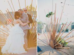 Hotel Lautner wedding with a rad handmade ceremony backdrop
