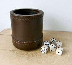 LEATHER DICE CUP + 6 Dice Ribbed Rubber Interior Double Stitching at Bottom Deep Brown Color Large Size Sturdy Solid Vintage American by OnceUpnTym on Etsy