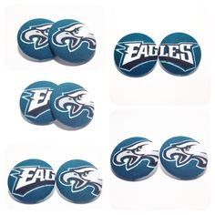 Oversized Philadelphia Eagles Print Button Earrings by AncientBrand on Etsy