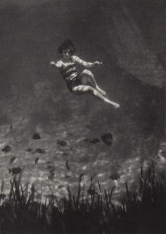 """1930 National Geographic Magazine, taken by Clifton Adams. The caption reads:  """"AN UNDERWATER FAIRYLAND IS SEEN AT SILVER SPRINGS"""""""
