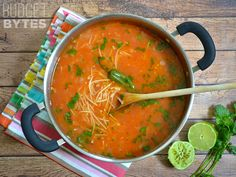 Sopa de Fideo is an incredibly simple yet flavorful soup made with a tomato based broth, toasted vermicelli noodles, fresh lime, and cilantro.