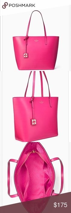 Kate Spade purse tote nwt! Kate spade hot pink purse new with tags ! Dimensions and description in last picture kate spade Bags Shoulder Bags