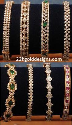 Indian Jewellery Designs: Kothari's Diamond Bangle Designs I want them all Indian Jewellery Design, Indian Jewelry, Jewelry Design, Diamond Jewellery Designs, Diamond Bracelets, Bangle Bracelets, Ruby Bangles, Diamond Choker, Gold Bangles Design