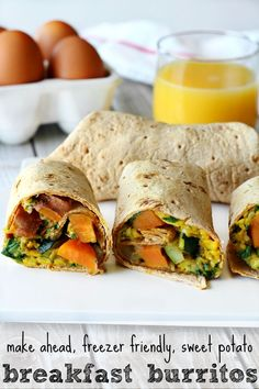 Sweet Potato Breakfast Burritos- make ahead, freezer friendly and ready when you are!