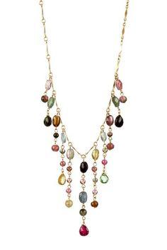 Candela Jewelry: Multicolor Tourmaline Drop Necklace $161