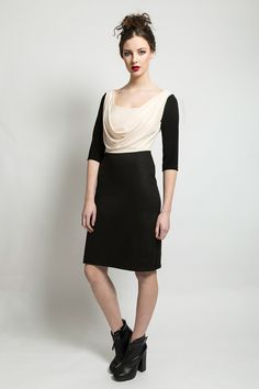 Cowl neck dress with pencil skirt. Aw 2014, Cowl Neck Dress, Pencil, Skirts, Collection, Black, Dresses, Fashion, Vestidos