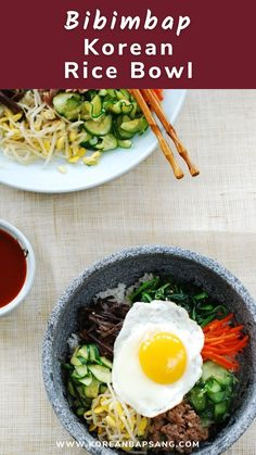 Bibimbap is a Korean rice bowl topped with an array of vegetables and meat and served with a gochujang sauce. Follow my easy step-by-step recipe to make the best authentic bibimbap! Bibimbap Sauce, Bibimbap Recipe, Korean Rice, Korean Food, Vietnamese Recipes, Asian Recipes, Ethnic Recipes, Potluck Recipes, Drink Recipes