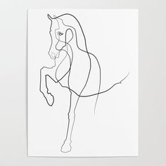 Horse Line Art Poster by bird.lines - X Animal Line Drawings, Horse Drawings, Art Drawings, Horse Tattoo Design, Sketch Tattoo Design, Horse Posters, Outline Art, Line Art Tattoos, Kunst Poster