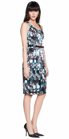 Sale  | Floral Print Satin Fitted Dress