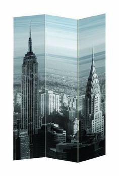 New York City Theme Three Panel Folding Screen - Room Divider - Empire State Building Chrysler Building by Legacy Decor, http://www.amazon.com/dp/B009F40746/ref=cm_sw_r_pi_dp_MKU7qb1DRJXXZ