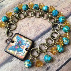 Beautiful bracelet with JLynn's Butterfly Wood Tile Charm Bracelet - designed by LeClairRoseDesigns on Etsy