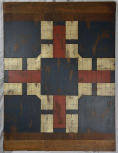Antique Hand Painted American Wooden Game Board Parcheesi 19th C