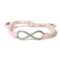 Macramé Crystal Infinity Bracelet. Claires store.