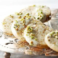 Salty pistachios are the perfect counterbalance for sweet but subtle white chocolate and vanilla bean. Use a food processor to quickly and evenly chop the pistachios. /