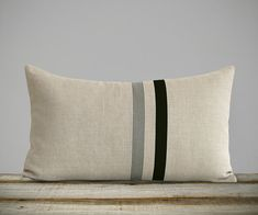 Striped Lumbar Pillow Cover with Black and Grey Stripes by JillianReneDecor