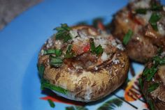 Gourmet Rooster: Roasted Red Pepper and Garlic Stuffed Mushrooms