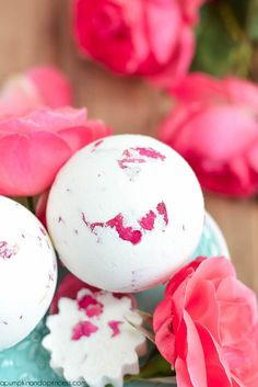 DIY Rose and Milk Bath Bomb.