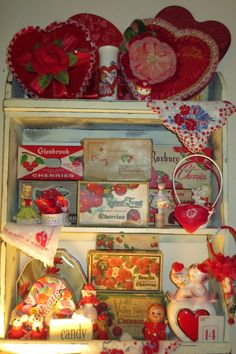 Vintage cherry boxes for Valentine's Day