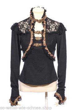 RQ-BL-Vintage-Bluse-Choker-Gothic-Steampunk-Pirates-Shirt-LARP-Braun-Beige-SP156