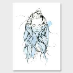 Sea Girl Art Print by Chloe Ruby NZ Art Prints, Design Prints, Posters & NZ Design Gifts | endemicworld