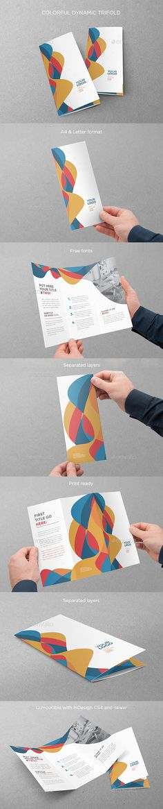 Colorful Dynamic Trifold — InDesign INDD #flexible #professional • Available here → https://graphicriver.net/item/colorful-dynamic-trifold/13628085?ref=pxcr