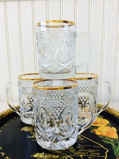 Four, Vintage Clear Cut Glass Crystal / Gold Rim Mugs, Barware, Drinkware, Bar Cart Decor, Cocktail Party, Hollywood Regency, French Country