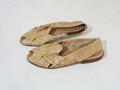 Vintage all over woven peep toe sandals. Sling backs. Nude leather.    Brand: 9 West  No Size Listed - Fit Like a 6 (Check Measurements)
