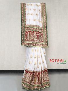 White and Maroon Panetar Saree
