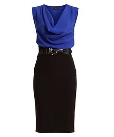 Blue (Blue) Blue and Black 2 in 1 Cowl Neck Dress | 260208340 | New Look