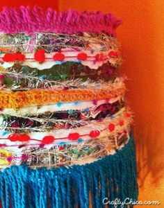 Diy mexi-boho lampshade - the crafty chica Fabric Lampshade, Lampshades, Lampshade Ideas, Mason Jar Crafts, Mason Jar Diy, Boho Diy, Boho Decor, Yarn Crafts, Fabric Scraps