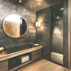 Dark floors light walls bathroom dark bathroom ideas top best dark bathrooms ideas on slate bathroom Black Tile Bathrooms, Slate Bathroom, Modern Bathroom, Bathroom Ideas, Bathroom Vanities, Bathroom Remodeling, Interior Desing, Luxury Interior, Luxury Furniture