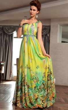 Colorful Strap Round-neck Pattern Long Ball Evening Dress