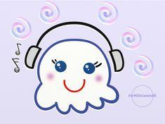 Fantasmino kawaii che ascolta musica. Parliamo di web radio per ascoltare musica e voci dal mondo