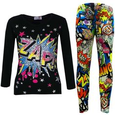 "New Girls "" ZAP "" Print Party Fashion Top T Shirt & Comic Book Legging Set…"