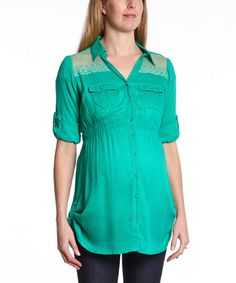 Another great find on #zulily! Emerald Embroidered Maternity Button-Up Top by Oh! Mamma #zulilyfinds