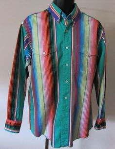 4046a340 Vtg Sz 16 5 x 34 Wrangler Cowboy Cut Bright Striped Western Shirt Button  Collar