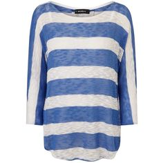 Phase Eight Saskia Stripe Top, Blue/White ($46) ❤ liked on Polyvore featuring tops, round neck top, white top, pattern tops, raglan top and stripe top